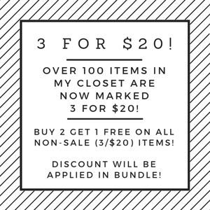 3 for $20 Sale - Buy 2 Get 1 Free